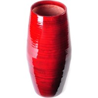 Lerman Decor Red Spun Bamboo Round Taper Vase 12in.