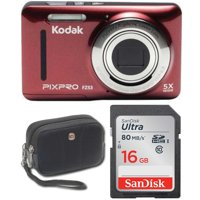 Kodak FZ53 Digital Camera (Red) with 16GB Memory Card and Case Bundle