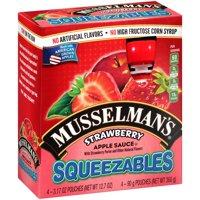 Musselman's® Squeezables Apple Sauce, Strawberry, 3.17 Oz, 4 Ct