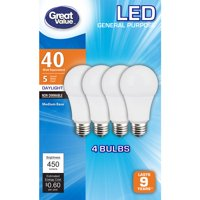 Great Value LED Light Bulbs 5W (40W Equivalent), Daylight, 4-Pack