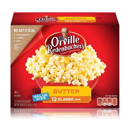Orville Redenbacher's Butter Popcorn, 3.29 Oz., 12 Bag - White Popcorn Bags