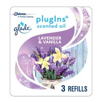 Glade PlugIns Scented Oil Refill Lavender & Vanilla, Essential Oil Infused Wall Plug In, Up to 50 Days of Continuous Fragrance, 1.34 oz, Pack of 3