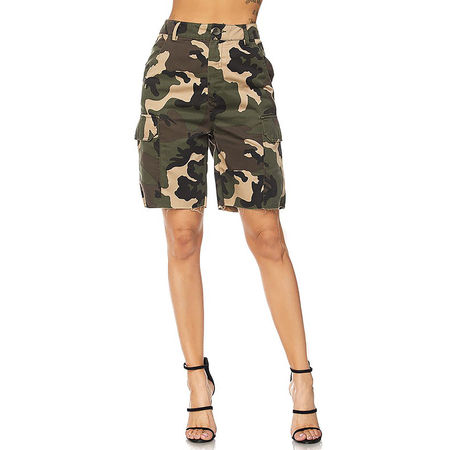 Womens Military Look Comfortable Camouflage Cargo Jogger Pants 21524-M-Camo(Short-21588)