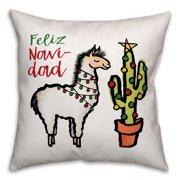Feliz Navidad Llama 16x16 Spun Poly Pillow Cover