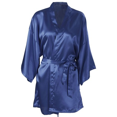 Women's Silk Satin Short Bridal Kimono Robe Sleepwear Bathrobe, Dark Blue