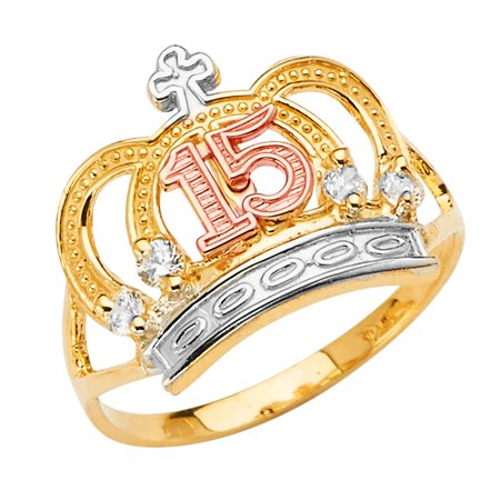 FB Jewels 14K White Yellow and Rose Three Color Gold Fifteen 15 Year Birthday Quincea–era Fashion Anniversary Crown Cubic Zirconia CZ Ring Size 5.5