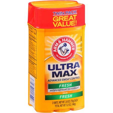 (4 count) Arm & Hammer Ultra Max Fresh Solid Antiperspirant Deodorant, 2.6 Oz, 2 Twin Packs