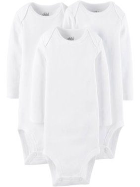 Long Sleeve White Bodysuits, 3-pack (Baby Boys or Baby Girls, Unisex)