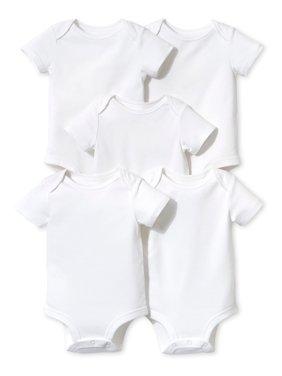 Little Star Organic White Short Sleeve Bodysuits, 5pk (Baby Boys or Baby Girls Unisex)