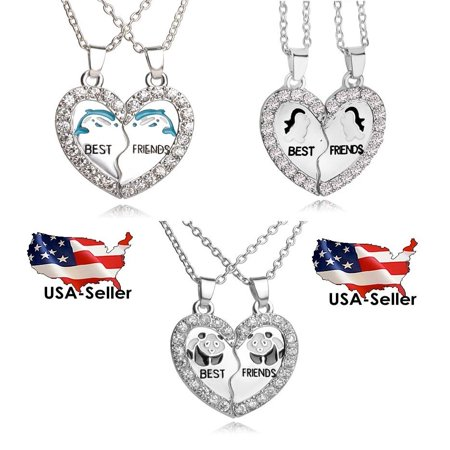 BEST FRIEND Wave Heart Silver Tone 2 Pendants Necklace BFF