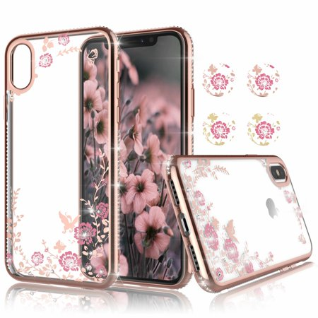 - Njjex Phone Case Cover For iPhone Xs Max / iPhone XR / iPhone XS / iPhone X, Njjex Clear Flower Floral Design Shock Absorption Bling Glitter Sparkle Hard Slim Case TPU Bumper Protective Cover