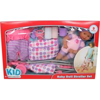 Kid connection babydoll and stroller playset - brown eyes, pink