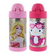 Thermos FUNtainer Vacuum Insulated Stainless Steel Kids Drinkware Bottle with Straw, 10 Ounce - Tasteless and Odorless, BPA Free, Great for Children – Disney Princess and Hello Kitty Cupcake (2 Pack)