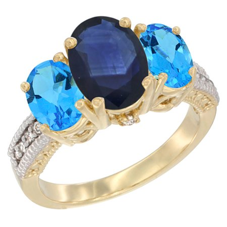Natural Blue Sapphire Ring - 14K Yellow Gold Diamond Natural Blue Sapphire Ring 3-Stone Oval 8x6mm with Swiss Blue Topaz, size 9.5
