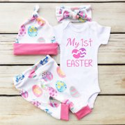 a504404fb 2019 My 1st Easter 4PCS Newborn Infant Baby Girl Boy Tops Romper+Pants+Hat