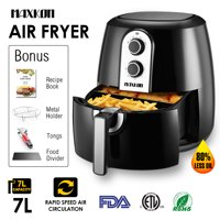 Maxkon XL Electric 1800W Air Fryer, 5.8 Qt Basket Capacity, w/ Temperature and Time Control, 80% Oil Less, Includes Tongs, Metal Holder, Food divider and Recipe Book