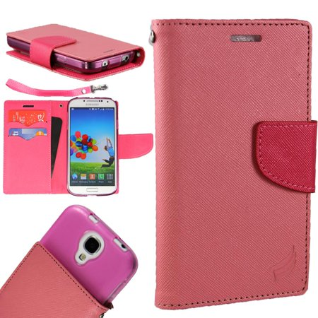 Cases Leather Zip ([World Acc] For Alcatel Zip Case PU Leather Flip Cover Folio Book Style Pouch Card Slot Wallet (Pink/Hot)