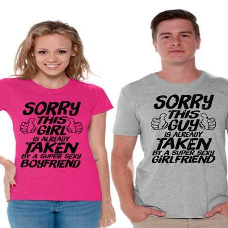 Awkward Styles Sorry This Guy / This Girl Is Already Taken Couple Shirts Super Sexy Boyfriend Shirt Super Sexy Girlfriend T Shirts for Couples Funny Matching Couple Shirts Valentine's Day - Super Villain Couples