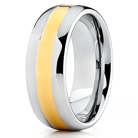 - Silly Kings 8mm Yellow Gold Tungsten Carbide Wedding Band Shiny Polish Handmade Ring Comfort Fit Mens