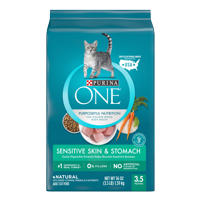 Purina ONE Sensitive Skin & Stomach Adult Dry Cat Food, 3.5 lb