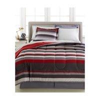 Gray & Red Teen Boys Stripe Reversible Full Comforter Set (8 Piece Bed In Bag)