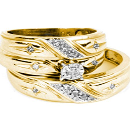 - 10kt Yellow Gold His & Hers Round Diamond Christian Cross Matching Bridal Wedding Ring Band Set 1/6 Cttw