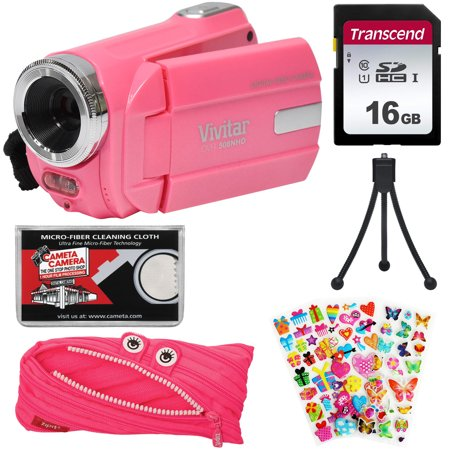 Vivitar DVR 508 NHD Digital Video Camera Camcorder (Bubble Gum Pink) with 16GB Card + Monster Case + Puffy Stickers + Tripod + Kit