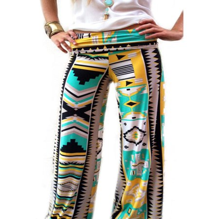 Women Yoga Boho Hippie Flared Wide Pants Palazzo Beach Holiday Vintage Trousers