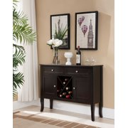 Eric Dark Cherry Wood Contemporary Wine Rack Buffet Display Console Table With Storage Drawers & Cabinet Doors