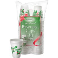 """DART 12J30X Holiday Printed Cups, White Insulated Foam Cup, 3.5"""" Top & 2.1"""" Bottom Diameter, 4.4"""" Height, 12 oz, 1 Packs of 30"""