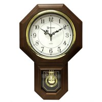 """17.5"""" x 11.25"""" Essex Westminster Chime Faux Wood Pendulum Wall Clock, Walnut, Traditional schoolhouse pendulum wall clock w/ electronic Chime. By Timekeeper"""