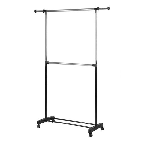 Whitmor Adjustable 2-Rod Garment Rack Black &
