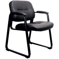 Essentials by OFM ESS-9015 Leather Executive Side Chair with Sled Base, Black, Reception Waiting Room Chair