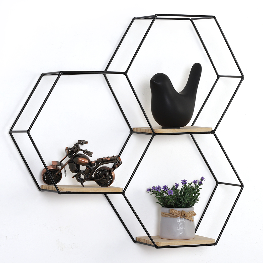 Mounted Hexagonal Floating Shelves Honeycomb Wall Decor