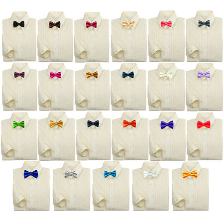 Toddler Baby Kids Boy Formal Tuxedo Suit Ivory Dress Shirt Color Bow tie 0-7 - Boys Tux Shirt