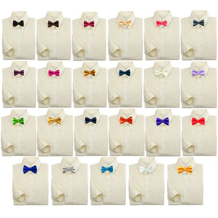 Toddler Baby Kids Boy Formal Tuxedo Suit Ivory Dress Shirt Color Bow tie