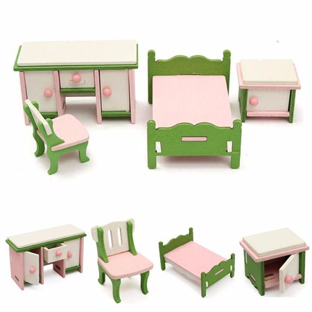 Wooden Doll House Miniature Bedroom Furniture Set Families Role Play Toys (Miniature Fine Furniture)
