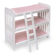 """Badger Basket Triple Doll Bunk Bed with Ladder and Bedding - Pink Gingham - Fits American Girl, My Life As & Most 18"""" Dolls"""