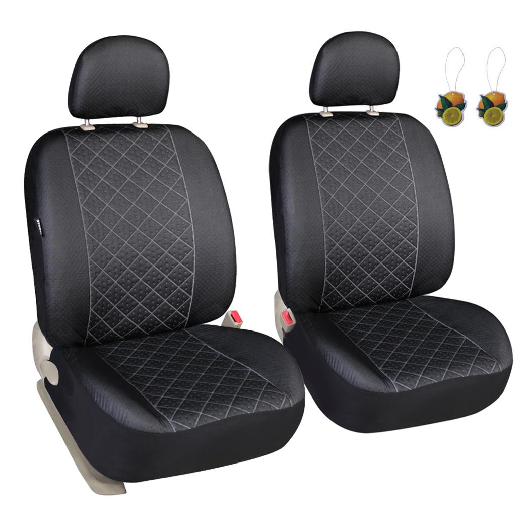 Pair 2 White Headrest Covers fit Car Van Bus Two Head Rest Covers Pad Universal