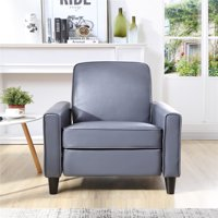 Push Back Faux Leather Recliner, Gray Color