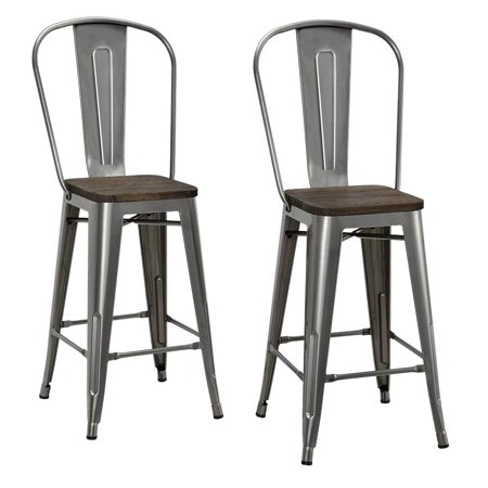 "DHP Luxor 24"" Metal Counter Stool with Wood Seat, Set of 2, Multiple Colors"
