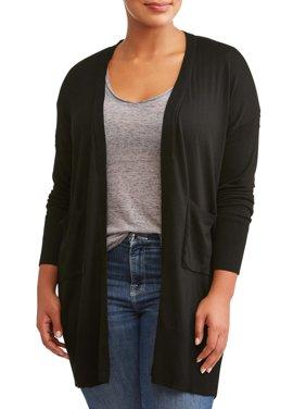 Poof Women's Plus Size Shawl Collar Duster Pocket Cardigan
