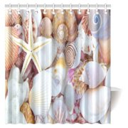 MYPOP Nautical Theme Collage Of Sand Stones Starfishes And Seashells Decor Shower Curtain Set Coastal