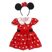 Disney Infant Girls Minnie Mouse Costume Red Polka Dot Baby Dress & Headband