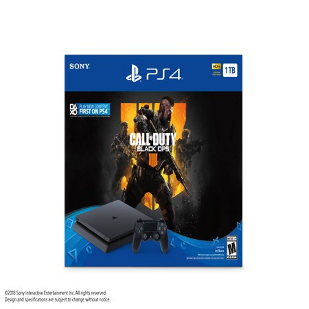 Sony PlayStation 4 1TB Slim System, w/ Call of Duty: Black Ops 4, - Psp Slim Crystal
