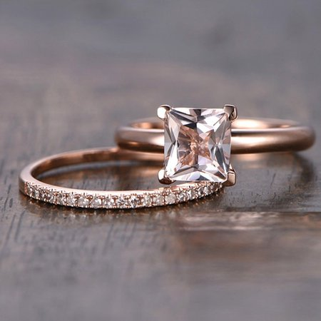 1.25 Carat Peach Pink Morganite (princess cut Morganite) and Diamond Engagement Bridal Wedding Ring Set in 10k Rose Gold