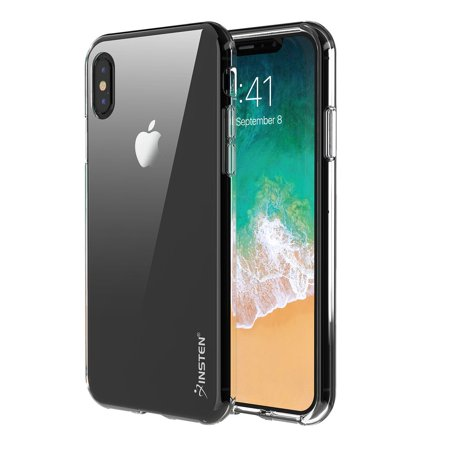 iPhone X Case Screen Protector Combo, by Insten Clear TPU Rubber Silicone Phone Skin Shockproof Case Cover for Apple iPhone X (Bundle with Anti Spy Privacy Tempered Glass Screen Protector)