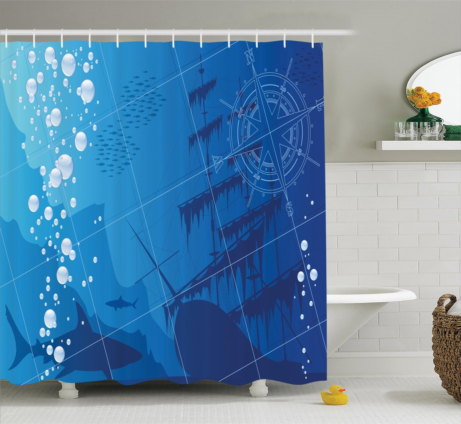 Polyester Fabric Bathroom Shower Curtain Set With Hooks