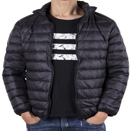 Mens Snow Jackets (LELINTA Mens Snow Down Jackets Weatherproof Men's Packable Down Puffer Jacket Black)