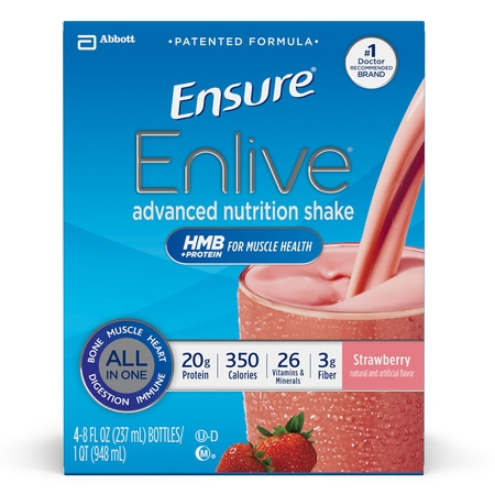 Advanced Protein Shake (Ensure Enlive Advanced Nutrition Shake with 20 grams of High-Quality protein, Meal Replacement Shakes, Strawberry, 8 fl oz, 4 count )